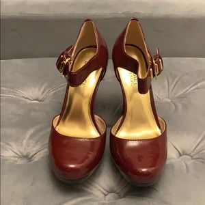 Michael Kors Red Leather Ankle Strapped Heels